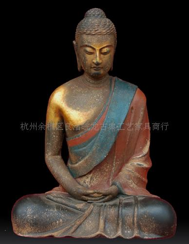 木雕佛像|彩绘观音木雕佛像