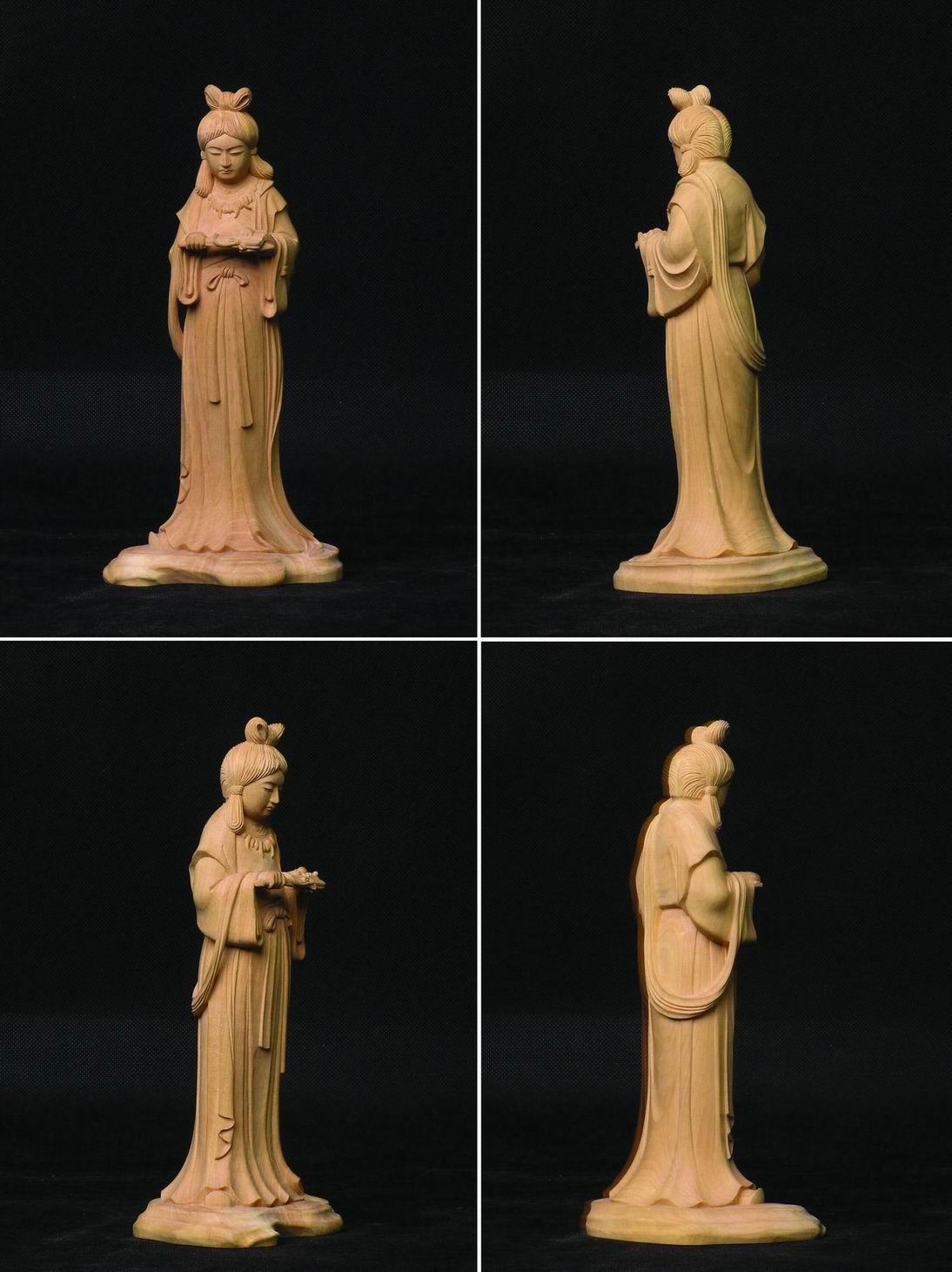 衣通姬 黄杨木雕 日本佛像 高级工艺品