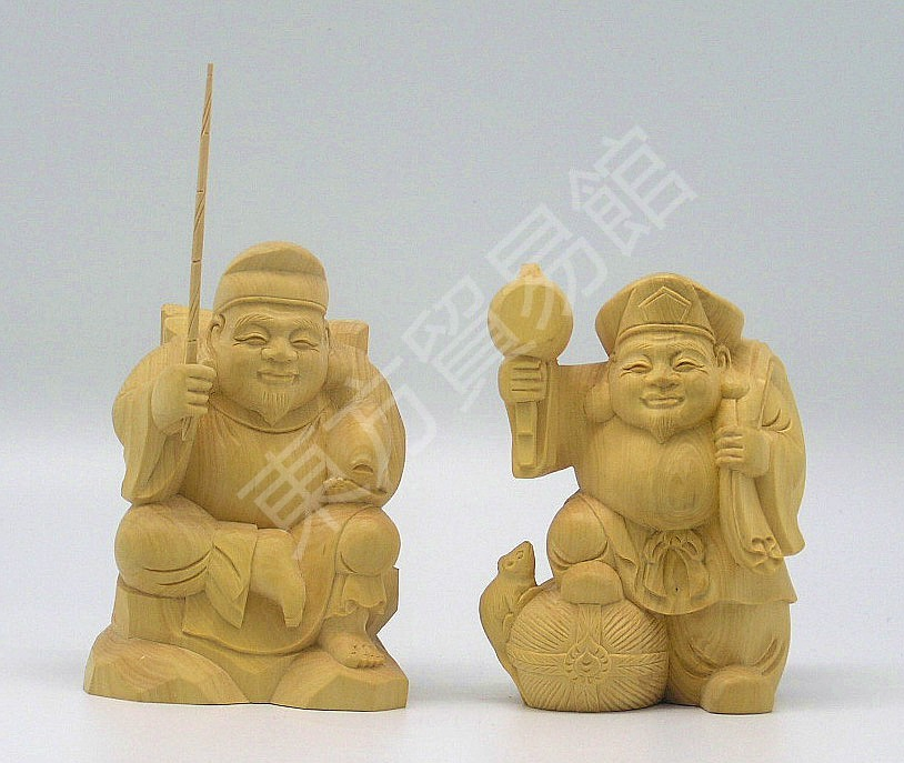 供应-大黑天一对 木雕佛像 木雕工艺品 旅游工艺品