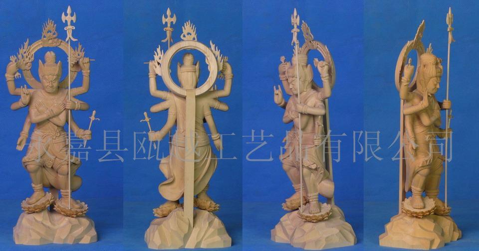 五大明王 黄杨木雕 日本佛像 高级工艺品