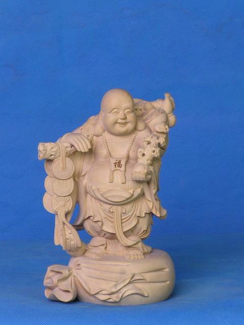 供应铜钱弥勒 黄杨木雕 日本佛像 高级工艺品