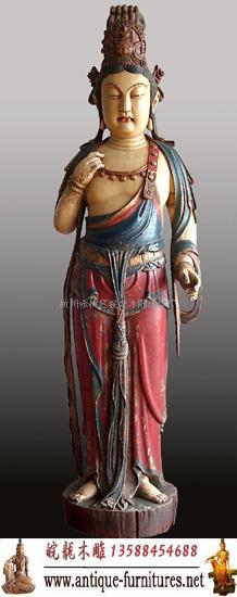 (皖龙)彩绘观音木雕佛像