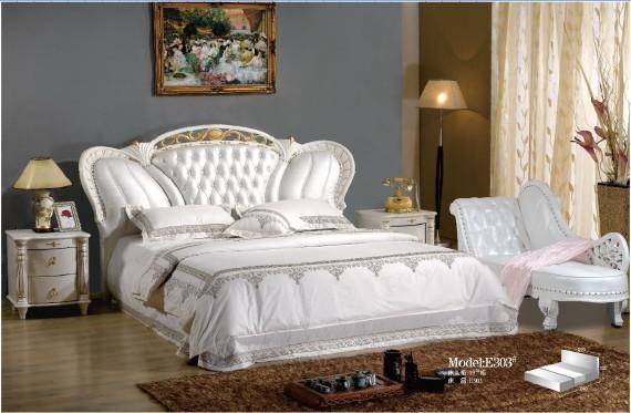 供应太子真皮皮床e303 太子软床 欧式卧室家具