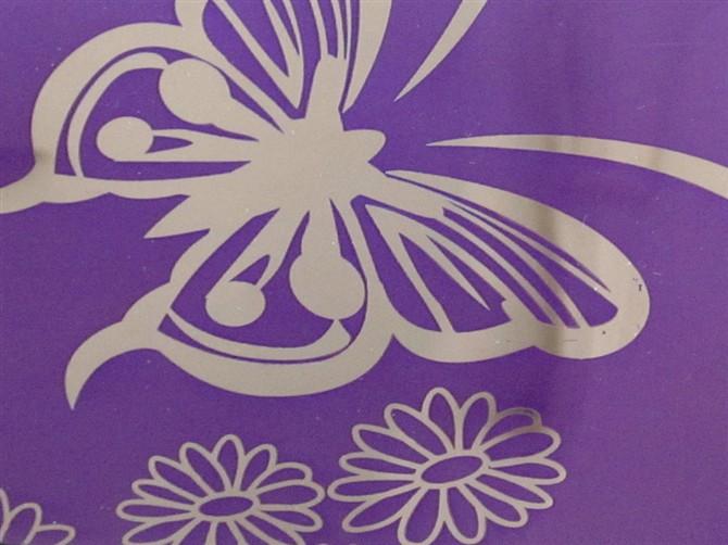 供应彩色不锈钢镜面蚀刻蝴蝶花花纹卫浴板