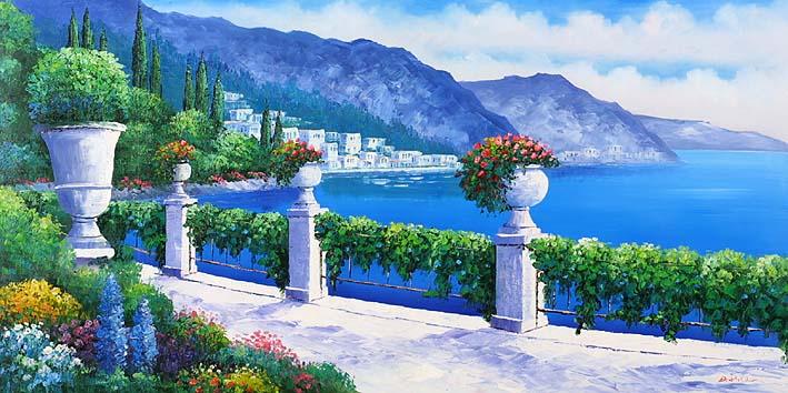 地中海油画 风景 手绘油画