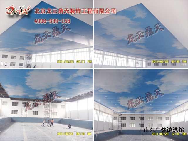 蓝天白云墙绘图