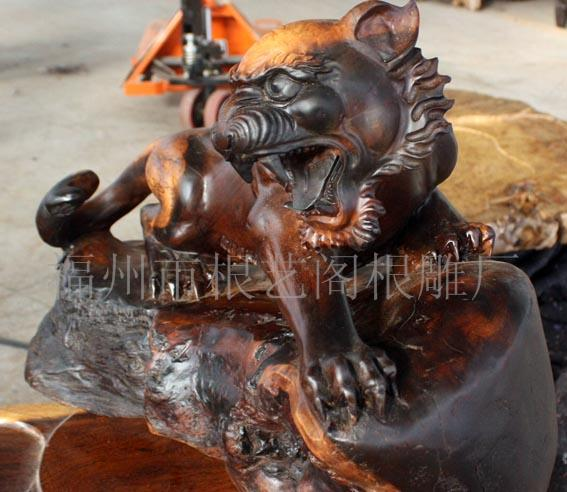 根艺阁根雕木雕 鸡翅木雕虎虎生威 木雕虎摆件 工艺品 982 动物生肖