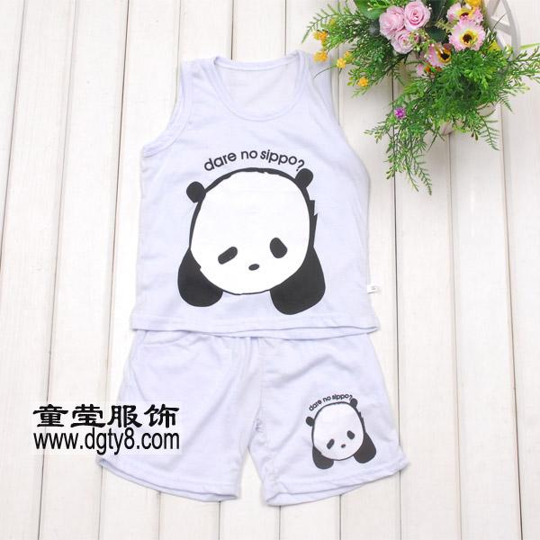 可爱小熊童装背心批发 夏季童装套装批发