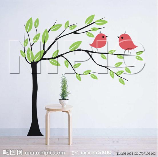 黑白墙绘树素材
