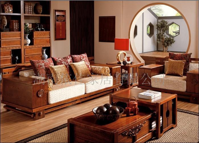 纯手工原木家具组合沙发