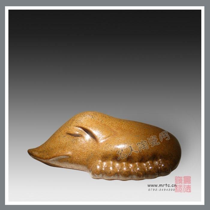 高档礼品瓷器 刘远长作品 诸家兴旺 陶瓷雕塑 名家雕塑