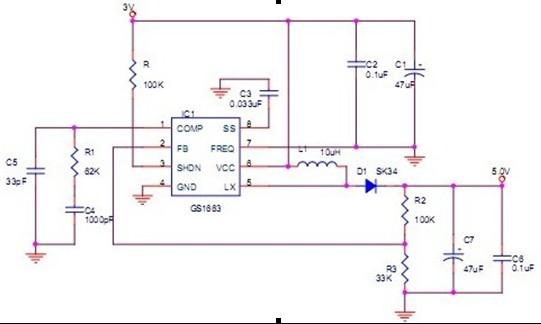 供应低压升压ic 2.8升5v 1.5A大电流 GS1663 中广芯源新推出的一款高效率、内置功率MOS管、直流升压稳压电路GS1663。输入电压范围可由最低2.8伏特到最高5.5伏特,输出电压3.0--12V可调整且输出内部MOS开关电流高达3A,非常适合于便携数码产品锂电池供电,工业控制供电,智能安防,网络通讯等设备的电压转换。 GS1663应用电路非常简单,外围器件极少。振荡频率640K和1.